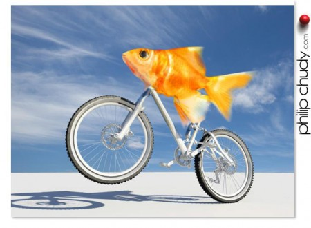'like a fish needs a bicycle'  a quick and dirty CGI illustration